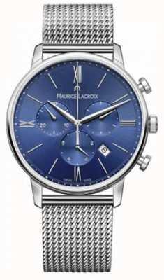 Maurice Lacroix Mens Eliros cronografo cinturino in maglia azzurra EL1098-SS002-410-1