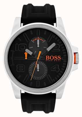 Hugo Boss Orange Orologio da esposizione in gomma nera data e giorno di Detroit 1550006
