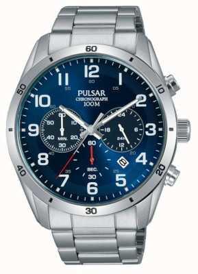 Pulsar Gents 100m in acciaio inossidabile stell blu viso chrono orologio PT3829X1