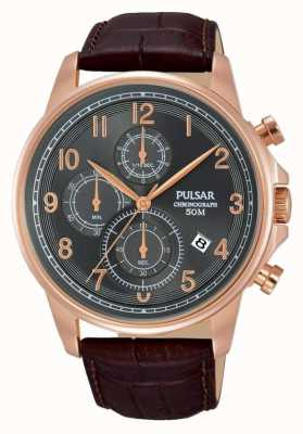 Pulsar Orologio cronografo in pelle marrone PM3083X1