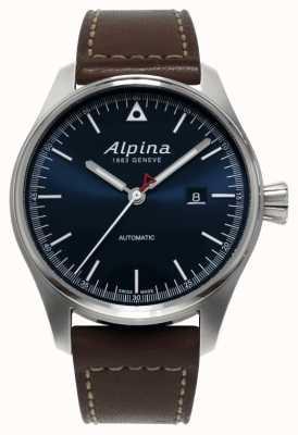 Alpina Quadrante blu con cinturino in pelle marrone automatico startemer da uomo AL-525N4S6