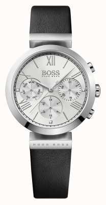 Hugo Boss Womens Classic Sport in pelle nera quadrante argentato cinturino 1502395