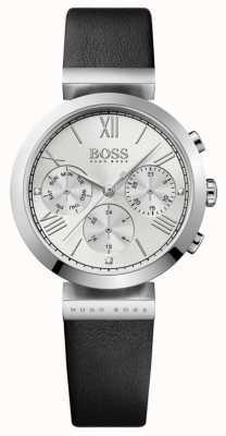 Boss Quadrante argentato da donna con cinturino in pelle nera sport classico 1502395