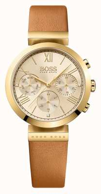Hugo Boss Delle donne quadrante in oro cinturino in pelle marrone Classic Sport 1502396