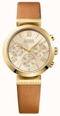 Boss Quadrante in oro con cinturino in pelle marrone sport classico da donna 1502396