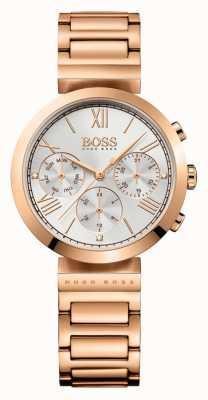 Boss Quadrante argentato da donna con cinturino sportivo placcato oro rosa 1502399