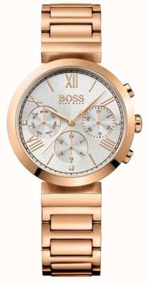 BOSS Quadrante argentato da donna con cinturino classico placcato in oro rosa sportivo 1502399