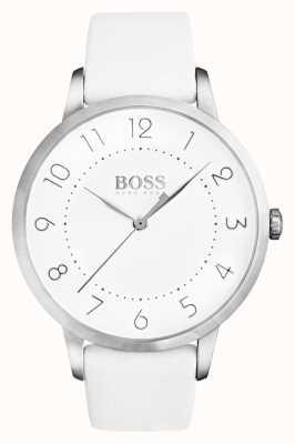 Boss Quadrante bianco da donna con cinturino in pelle bianca eclissi 1502409