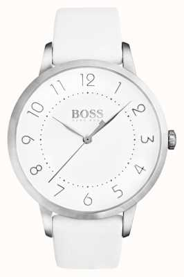 Hugo Boss Womens eclissi quadrante bianco cinturino in pelle bianca 1502409
