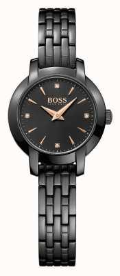 Hugo Boss Delle donne placcate nero successo quadrante nero cinturino in acciaio 1502387