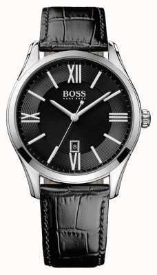 Hugo Boss ambasciatore Mens cinturino in pelle nera quadrante nero 1513022