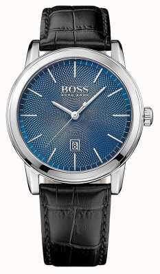 Hugo Boss Mens classico cinturino in pelle nera quadrante blu 1513400