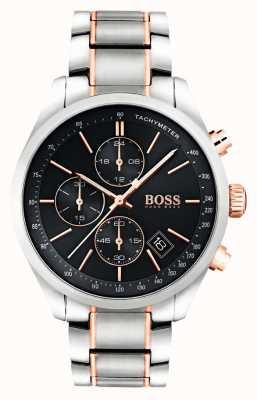 Hugo Boss Mens Grand Prix bracciale in acciaio quadrante nero 1513473