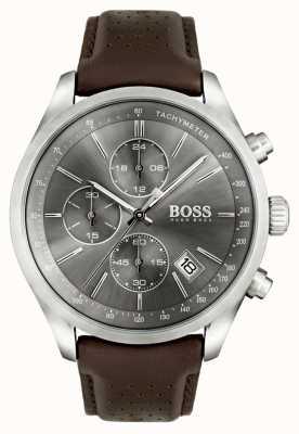 Boss Mens cinturino in pelle quadrante grigio Gran Premio marrone 1513476