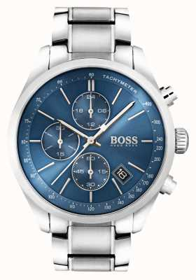 Hugo Boss Mens grand prix quadrante blu in acciaio inox 1513478