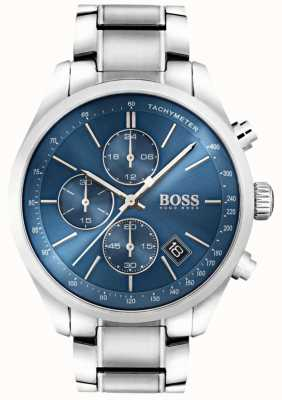 BOSS Mens grand prix quadrante blu in acciaio inox 1513478