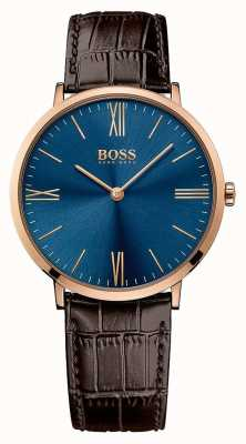 Hugo Boss Mens Jackson cinturino in pelle marrone quadrante blu 1513458