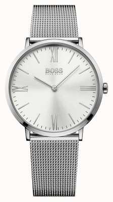 Hugo Boss quadrante silver cinturino in maglia Mens Jackson in acciaio inox 1513459