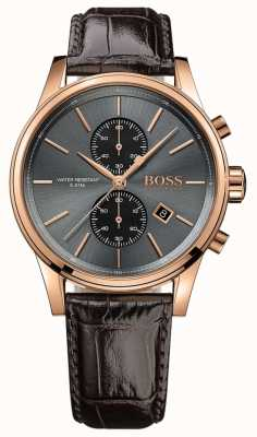 Boss jet Mens cinturino in pelle marrone quadrante grigio 1513281