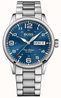 Boss Quadrante blu vintage da uomo in acciaio inossidabile pilot pilot 1513329