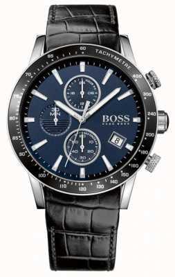 Boss Quadrante blu con quadrante in pelle nera 1513391