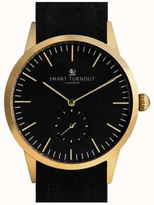 Smart Turnout orologio Firma - oro con cinturino in pelle nera e gf STK3/GO/56/W