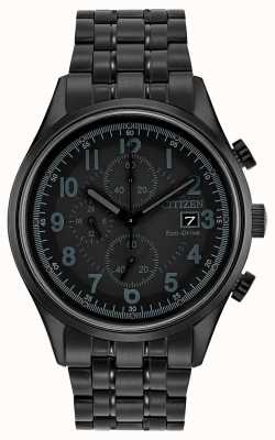 Citizen Mens Eco-Drive black metal Chandler CA0625-55E