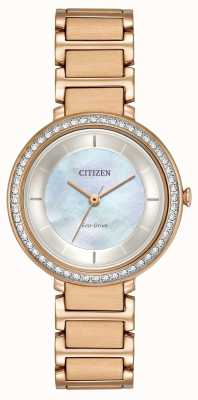 Citizen Womans Eco-Drive di cristallo silhouette oro rosa EM0483-54D