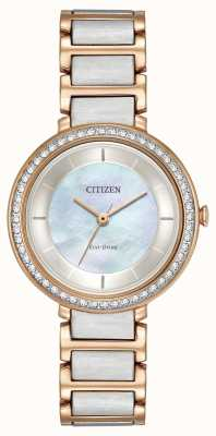 Citizen silhouette di cristallo Womans eco-drive di due toni oro rosa EM0483-89D