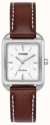 Citizen Womans eco-drive silhouette pelle marrone EM0490-08A
