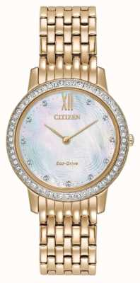 Citizen Womans Eco-Drive di cristallo silhouette oro rosa EX1483-50D