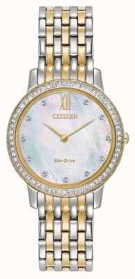 Citizen Womans Eco-Drive silhouette di cristallo due tono oro EX1484-57D