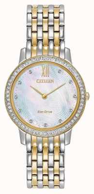 Citizen Womans eco-drive silhouette cristallo | bicolore oro / argento | EX1484-57D