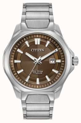 Citizen Mens Eco-Drive quadrante marrone super-titanio AW1540-88X