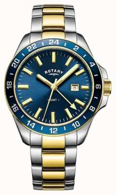 Rotary Mens havana gmt due toni blu GB05082/05