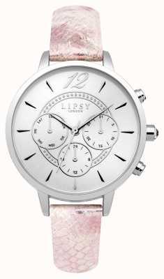 Lipsy Cinghia in pelle rosa cronografo argento Womans LP506