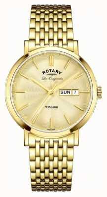 Rotary Mens Windsor oro cinturino placcato GB90156/03