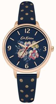Cath Kidston Punto floreale di polka del blu marino di Womans CKL004URG