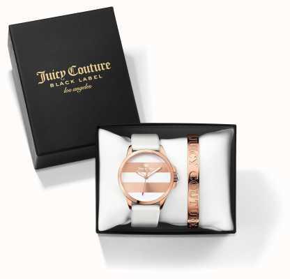 Juicy Couture Womans FERGI rosa bianca braccialetto set regalo orologio d'oro 1950007