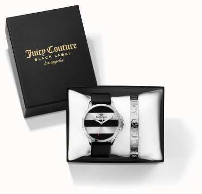 Juicy Couture Womans Jetsetter braccialetto d'argento nero e guardare set regalo 1950011