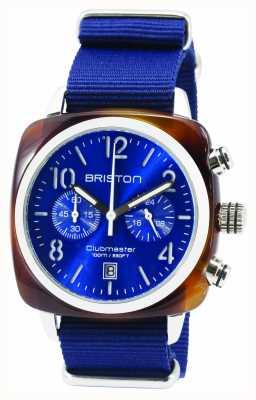 Briston Mens clubmaster classico acetato chrono tartaruga conchiglia blu 15140.SA.T.9.NNB