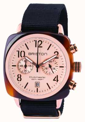Briston Mens Clubmaster classica crono acetato di oro rosa 14140.PRA.T.6.NB