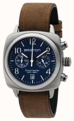 Briston Mens Clubmaster classica crono in acciaio opaco blu 16140.S.C.15.LVBR