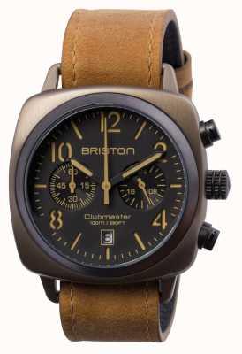 Briston Mens clubmaster classico acciaio crono kaki 15140.SPK.C.5.LVBR