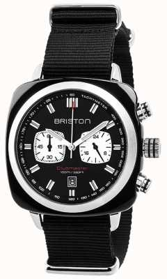 Briston Mens Clubmaster sportiva acetato crono nero 17142.SA.BS.1.NB
