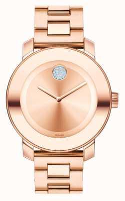 Movado medie grassetto rosa cristallo k1 oro ionico placcato 3600086