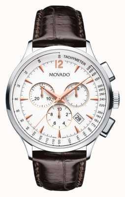 Movado circa cronografo cassa in acciaio bianco uomo 0606576