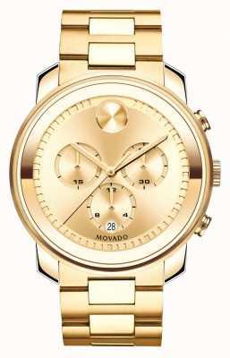 Movado Grande cronografo grassetto oro giallo ionico-plated di cristallo k1 3600278