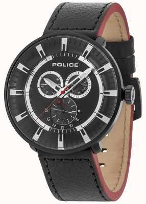 Police Lega Mens multifunzionale in pelle nera quadrante nero 15040XCYB/02