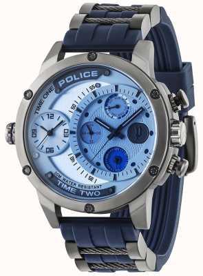 Police Mens vipera data multifunzione quadrante argentato cinturino in caucciù 14536JSU/04P